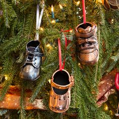 Bronzed Shoe Christmas Tree Ornament  Great way to preserve your baby shoes if you don't have the space to display it year round!