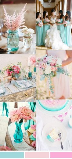 Aqua and pink wedding color palette idea for spring summer 2017