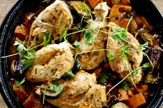 Kip tajine met zoete aardappel - www.puur-gezond.be World Recipes, How To Cook Chicken, Tandoori Chicken, Great Recipes, Slow Cooker, Food And Drink, Yummy Food, Meat, Dinner