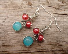 Earrings Pearl Handmade Jewelry Turquoise Coral by TiffaneeTwisted, $17.98