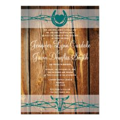 Rustic Barbed Wire Horseshoe Wedding Invitations