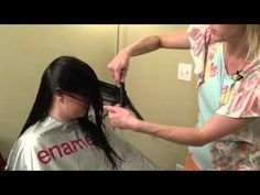 How to do a V-cut // V cut layering on women's hair - YouTube