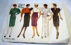 """1980s Evening Gown Cocktail dress Gathered waist sewing pattern Vogue 1647 Size 6 8 10 Bust 30.5 31.5 32.5"""" UNCUT FF by retroactivefuture on Etsy"""