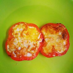 scrambled eggs, cheese, peppers, ham Photo by ioana_cis