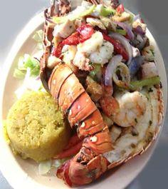 ☀Puerto Rico☀Langosta rellena de mariscos, en el Restaurante Trapiche, Guayama. (Seafood Stuffed Lobster with Mofongo)