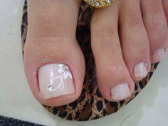 Unhas-Decoradas-Para-os-Pés-09 Pedicure Designs, Pedicure Nail Art, Toe Nail Designs, Toe Nail Art, Gorgeous Nails, Pretty Nails, Feet Nails, Toenails, Neutral Nails