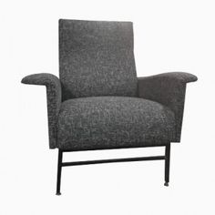 Italian Mid-Century Lounge Chair with Black Mottled Upholstery