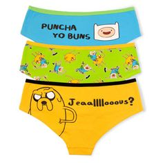 Now you can have 3 pair of Adventure Time panties in many women's sizes and yes Jake and Finn are on them and they are super cute. Come see them now! Cartoon Network Shop, Adventure Time Clothes, Pretty Outfits, Cool Outfits, Guys Be Like, My Love, Adveture Time, Underwear, Queen
