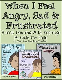 A three-pack of printable children's stories about recognizing, expressing and managing anger, frustration and sadness, starring boys. All three stories include a color and black white and version.The Dealing-with-feelings stories have been created to be more general than Social Stories and can be used by parents and educators to educate young children to recognize their feelings as normal and have strategies to try to manage the 'trickier' ones.Related:Dealing With Feelings Story: When I…