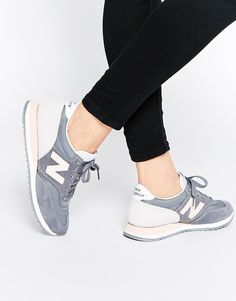 Image 1 of New Balance Grey & Pink 620 Trainers