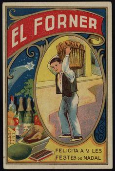 El Forner felicita a V. les Festes de Nadal. Segle XX. Fons Palau Antiguitats. #Nadal #Christmas #greeting #card
