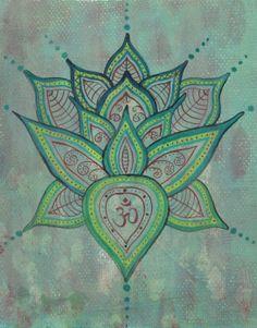 Lotus Painting  Original Art  Green acrylic by EarthChildArt, $35.00