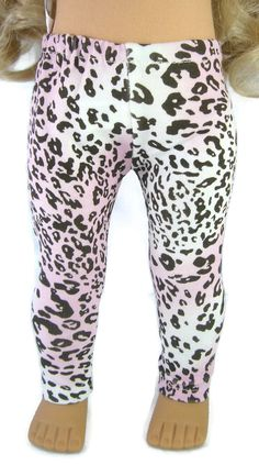 """Pink Brown Leopard Lycra Leggings for 18"""" American Girl Doll Clothes #DollClothesSewBeautiful"""