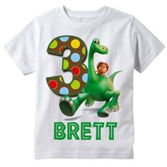 The Good Dinosaur Personalized Birthday Shirt by BerryBestTees Kids Birthday Themes, Dinosaur Birthday Party, Third Birthday, 3rd Birthday Parties, Birthday Fun, Pool Party Themes, Circus Theme Party, Party Ideas, Personalized Birthday Shirts