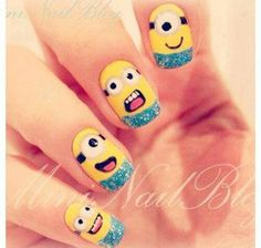 Fun minion nail art
