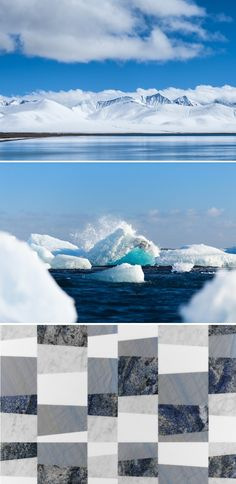 """The Arctic natural landscapes with the stunning shades of their ocean and seas are evoked in this mix of precious stones creating the """"piano artico"""" wall and floor texture. From the """"Opus"""" collection."""