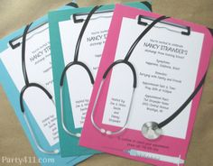 "Send out these nursing school graduation invitations to family and friends to celebrate a new nurse who is now calling the ""shots""! Check out our other graduation products that match the invites, and use a few of our decorating tips, too. Nurse Grad Parties, Nurse Party, Nursing School Graduation, Graduate School, Medical School, Graduation Invitations College, Graduation Party Decor, Graduation Ideas, Nursing Students"