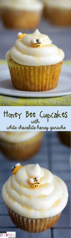 Honey Bee Cupcakes with White Chocolate Honey Ganache Oreo Cupcakes, Cupcake Cakes, White Chocolate Cupcakes, Cupcake Frosting, Chocolate Ganache, Honey Recipes, Baking Recipes, Sweet Recipes, Easy Desserts