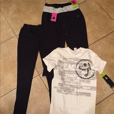 Zumba NWT bundle of 3 size XS #712 NWT bundle includes a graphic tee size XS A pair  of French terry Capri XS A pair of leggings size XS tags attached  no flaws Zumba Other