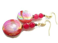 Pink Jade Earrings Pink Shell Earrings Hot Pink by chicagolandia, $18.00
