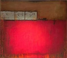 RED FIELD -  MIXED MEDIA on CANVAS 140 x 120 cm -  RUDI ECKERLE GERMAN CONTEMPORARY FINE ARTIST BADEN-BADEN