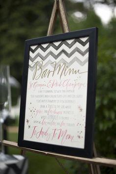 Chevron Black and Gold Wedding Bar Menu