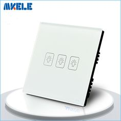 Touch Switch White Crystal Glass panel UK Standard 3 Gang 2 Way Touch Screen wall switch wall socket for lamp