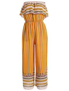 Ruffles Tribal Print Tube Jumpsuit - Yellow L Yellow Jumpsuit, Ruffle Jumpsuit, Printed Jumpsuit, Cute Rompers, Tribal Prints, Jumpsuits For Women, Style Guides, Ruffles, Girl Fashion