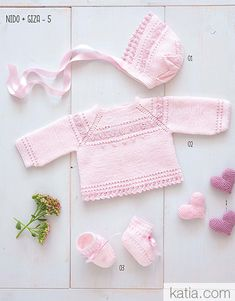 Diy Crafts - pattern knit crochet set autumn winter katia 6069 1 p Baby Sweater Patterns, Baby Knitting Patterns, Knitting Designs, Knitting Yarn, Crochet Baby, Crochet Bikini, Knit Crochet, Laine Katia, Baby Girl Sweaters