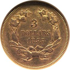 1855 three dollar gold