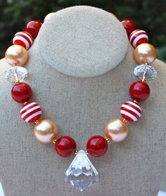 NFL Team Colors Chunky Necklace49ers by YayasCouture on Etsy, $17.50