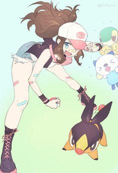 Anita e starter Pokemon Mew, Pokemon Hilda, Touko Pokemon, Pikachu, Pokemon Manga, Sexy Pokemon, Black Pokemon, Pokemon Fan Art, Cool Pokemon