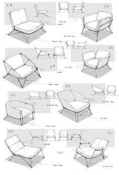 furniture sketch Lounge Chair by Matthe - furniture Interior Design Sketches, Industrial Design Sketch, Sketch Design, Drawing Furniture, Chair Drawing, Furniture Sketches, Chair Design, Furniture Design, Modern Furniture