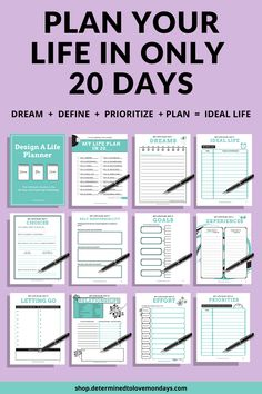 In only 15 minutes a day for 20 days, you will develop the life plan that motivates and excites you! #makegoals #goalslife #goalsinspiration #dreamgoals #goalsmotivation #goalsforlife #goalstohave #goalideas #goodgoals #mygoals #goalsinlife #motivationgoals #plannerinspiration #goalsetting #goaltracker #yearlygoals #plannergoalsideas #goalsettingplanner Goals Planner, Planner Pages, Life Planner, Happy Planner, Planner Inserts, Planner Ideas, Weekly Planner, Types Of Planners, Daily Planners