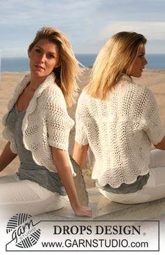 """Ravelry: 105-4 bolero in wavy pattern in """"Silke Alpaca"""" pattern by DROPS design"""