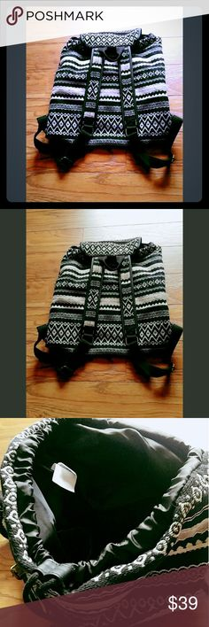 💙Price Drop💙Large Tribal Backpack Woven beauty with antique brass hardware fits everything and anything!   3 large pockets inside plus the 2 exterior pouches. Used once! Bags Backpacks