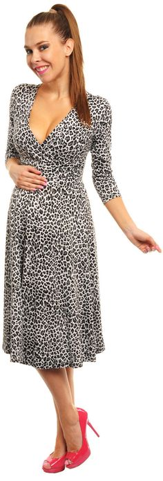 Super cute knee length circle dress with v neck and sleeves. Flatter your bump and new curves in this gorgeous stretchy animal print flared circle dress, cleverly designed to accommodate your new curves. Circle Dress, Animal Print Dresses, Maternity Wear, Curves, Super Cute, V Neck, Long Sleeve, How To Wear, Clothes