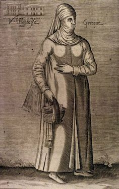 NICOLAS DE NICOLAY Greek peasant woman 1662, copper engraving, 27 x 17 cm
