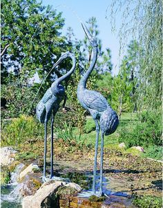 Details about Bronze Crane Pair Metal Garden Statues Mystical Bird