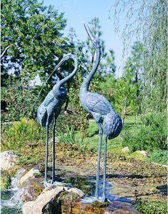 Colossal Cranes Bronze Garden Sculptures   Set Of Two