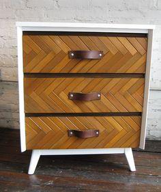 chevron wood chest