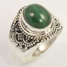 Natural MALACHITE Gemstone 925 Sterling Silver Ring Size US 7.75 Best Gift Store #Unbranded