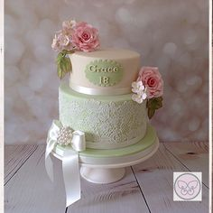 Ivory, pale green and rose pink Vintage Style two tier 18th Birthday Cake