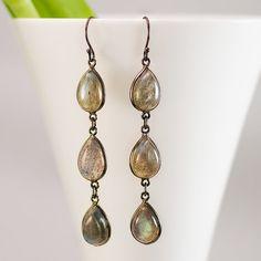 Labradorite Earrings  Oxidized Silver Earrings  by delezhen, $65.00