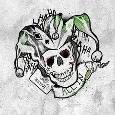 Deadshot, Harley and Joker posters added to Suicide Squad tattoo teasers Harley Quinn Tattoo, Harley Quinn Et Le Joker, Harley Tattoos, Joker Tattoos, Batman Joker Tattoo, Joker Logo, Skull Tattoos, Joker Kunst, Art Du Joker