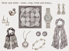 A Grey Wardrobe with Silver and White Accessories Two pearl ring –Majorica, square silk scarf – Hermes, watch – Peugeot - sold out. Similar here,  pearl waterfall earrings – Priscila Canales, striped scarf – Jeager, basket weave scarf – Jaeger,  square crystal earrings – Judith Ripka, Mother-of-pearl pendant – Stephen Webster, pearl stud  earrings – Alon Diller, mother-of-pearl bracelet – Ippolita