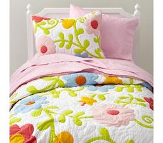Kids' Bedding: Girls' Floral Garden Multi-colored Cotton Bedding    land of  nod