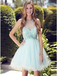 A-line+Scoop+Short/Mini+Tulle+Cocktail+Dresses/Short+Prom+Dress#+ZP165