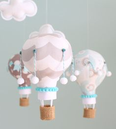 Aqua and Grey Nursery Mobile, Hot Air Balloon Mobile, Nursery Decor, i100 on…