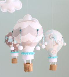 Aqua and Grey Nursery Mobile, Hot Air Balloon Mobile, Nursery Decor, i100 on Etsy, Sold